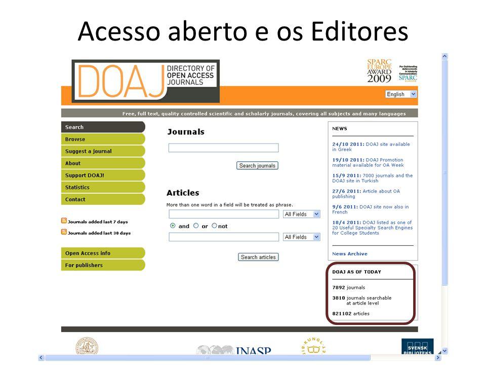 Acesso aberto e os Editores