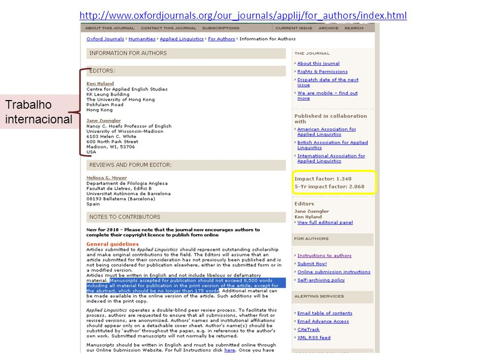http://www.oxfordjournals.org/our_journals/applij/for_authors/index.html Trabalho internacional