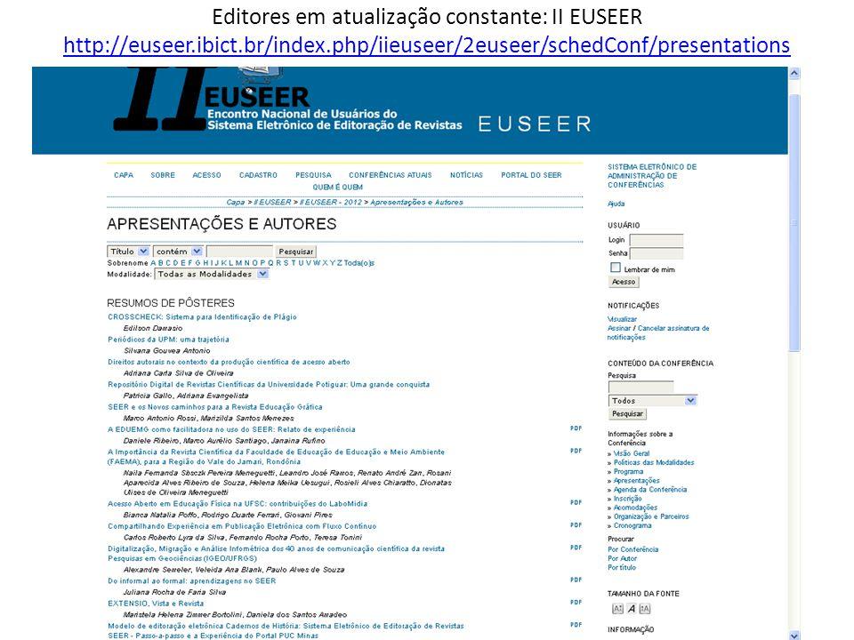 Editores em atualização constante: II EUSEER http://euseer.ibict.br/index.php/iieuseer/2euseer/schedConf/presentations http://euseer.ibict.br/index.ph