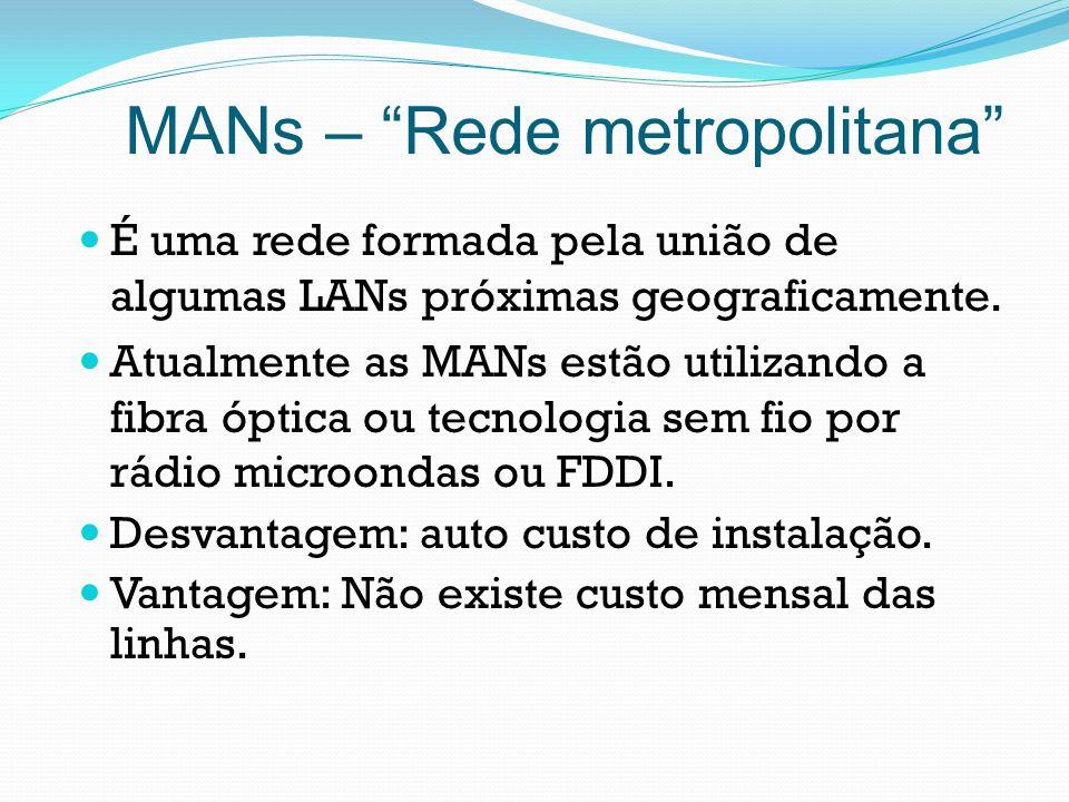 MANs – Rede metropolitana É uma rede formada pela união de algumas LANs próximas geograficamente. Atualmente as MANs estão utilizando a fibra óptica o