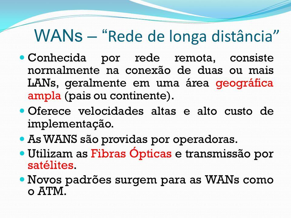 WANs – Rede de longa distância Conhecida por rede remota, consiste normalmente na conexão de duas ou mais LANs, geralmente em uma área geográfica ampl