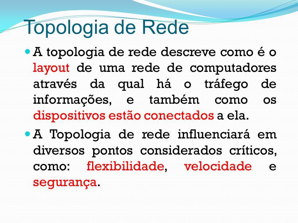 Topologia de Rede A topologia de rede descreve como é o layout de uma rede de computadores através da qual há o tráfego de informações, e também como