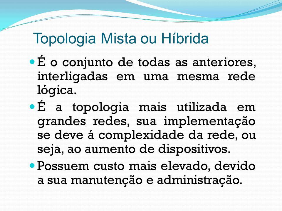 Topologia Mista ou Híbrida É o conjunto de todas as anteriores, interligadas em uma mesma rede lógica. É a topologia mais utilizada em grandes redes,