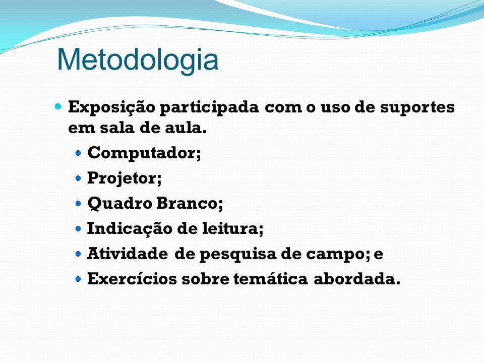 Metodologia Exposição participada com o uso de suportes em sala de aula. Computador; Projetor; Quadro Branco; Indicação de leitura; Atividade de pesqu
