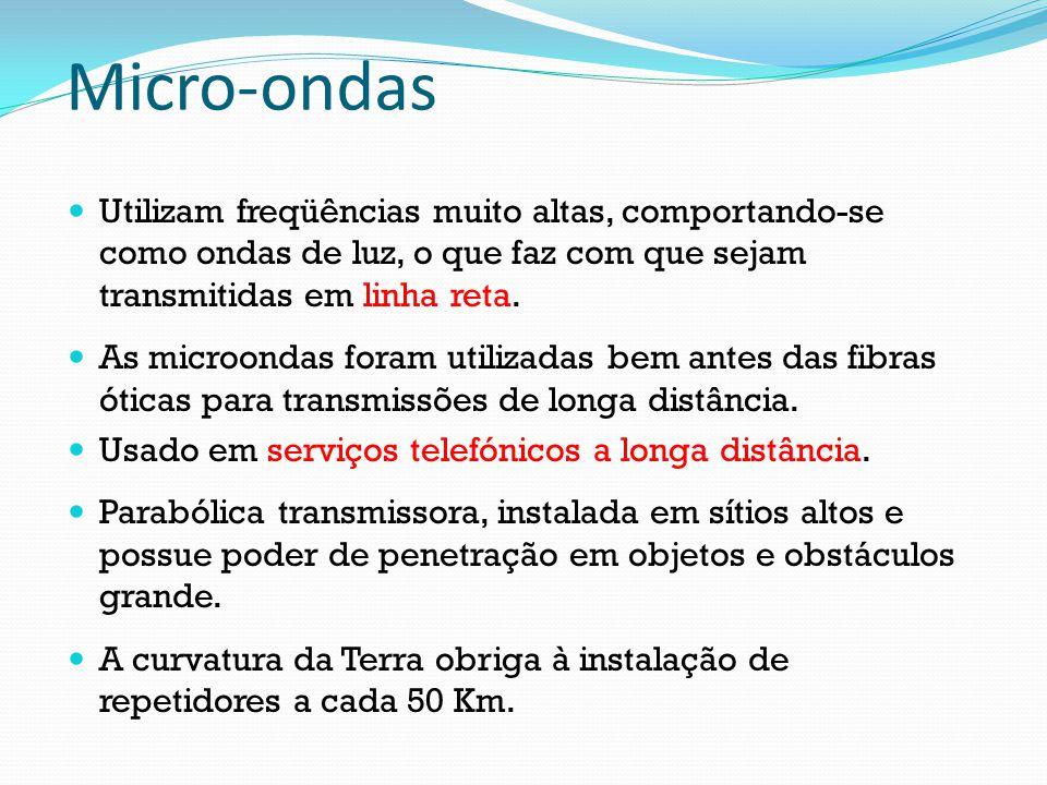 Micro-ondas Utilizam freqüências muito altas, comportando-se como ondas de luz, o que faz com que sejam transmitidas em linha reta. As microondas fora