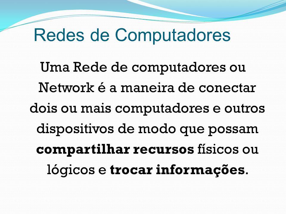 Redes de Computadores Uma Rede de computadores ou Network é a maneira de conectar dois ou mais computadores e outros dispositivos de modo que possam c