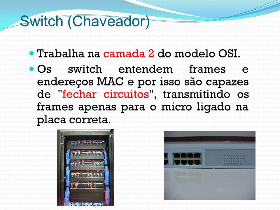 Trabalha na camada 2 do modelo OSI. Os switch entendem frames e endereços MAC e por isso são capazes de