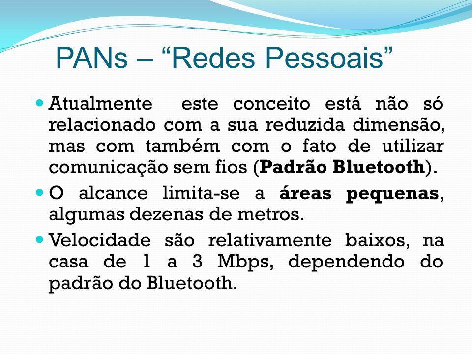 PANs – Redes Pessoais Atualmente este conceito está não só relacionado com a sua reduzida dimensão, mas com também com o fato de utilizar comunicação