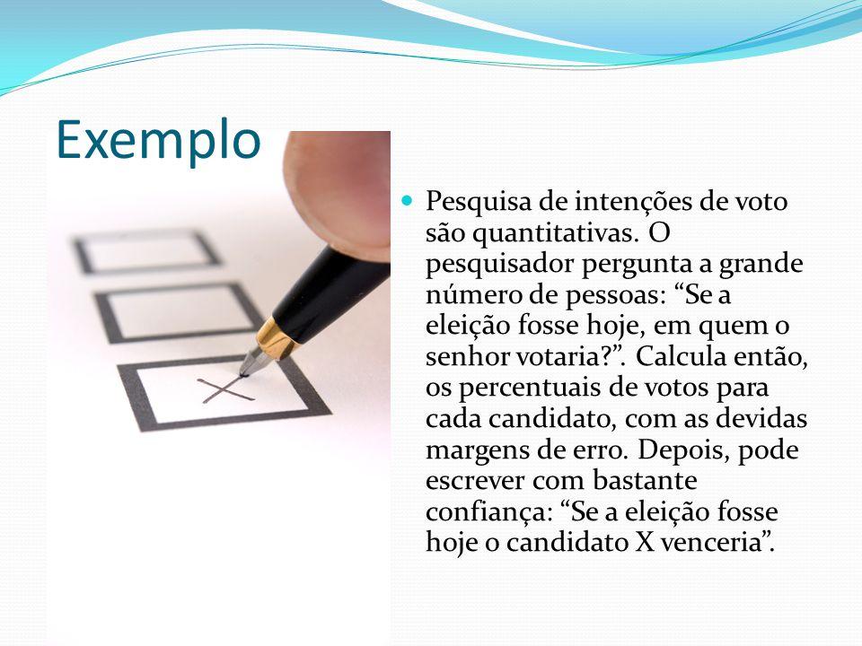 Exemplo Pesquisa de intenções de voto são quantitativas.