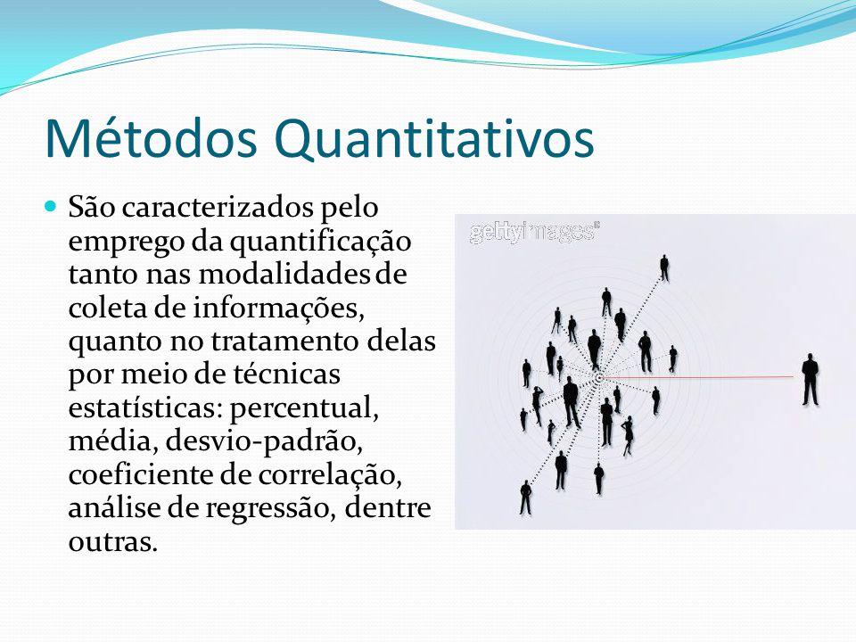 Métodos Quantitativos São caracterizados pelo emprego da quantificação tanto nas modalidades de coleta de informações, quanto no tratamento delas por meio de técnicas estatísticas: percentual, média, desvio-padrão, coeficiente de correlação, análise de regressão, dentre outras.