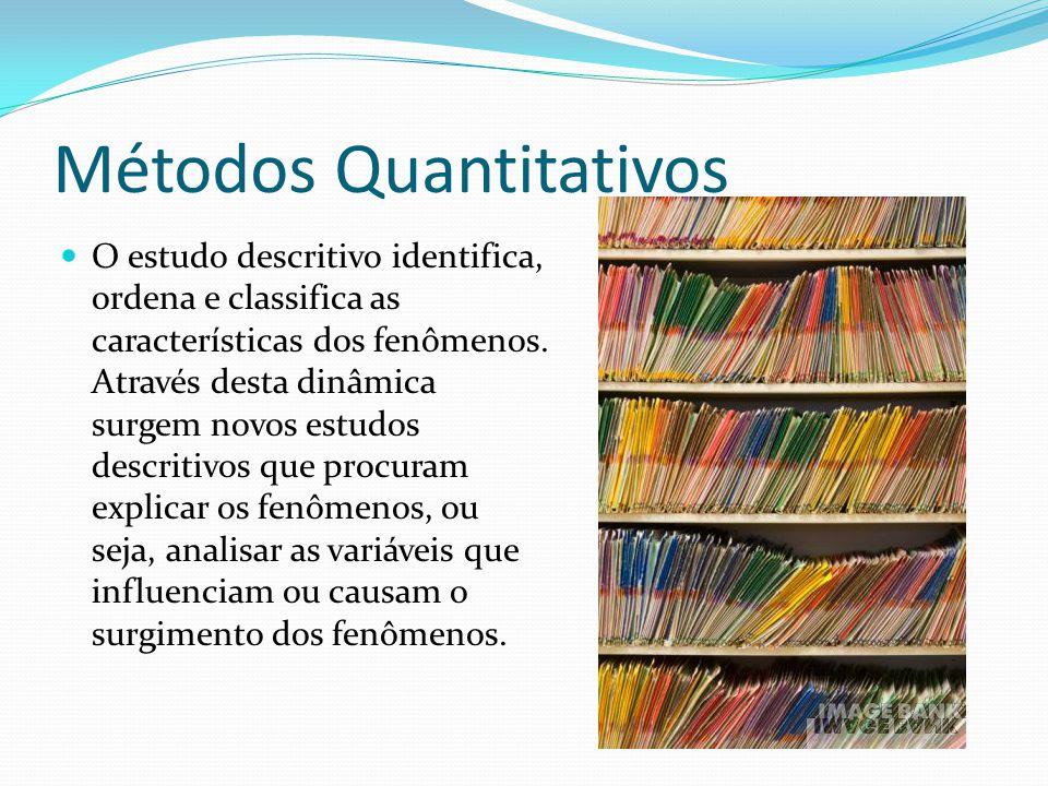 Métodos Quantitativos O estudo descritivo identifica, ordena e classifica as características dos fenômenos. Através desta dinâmica surgem novos estudo