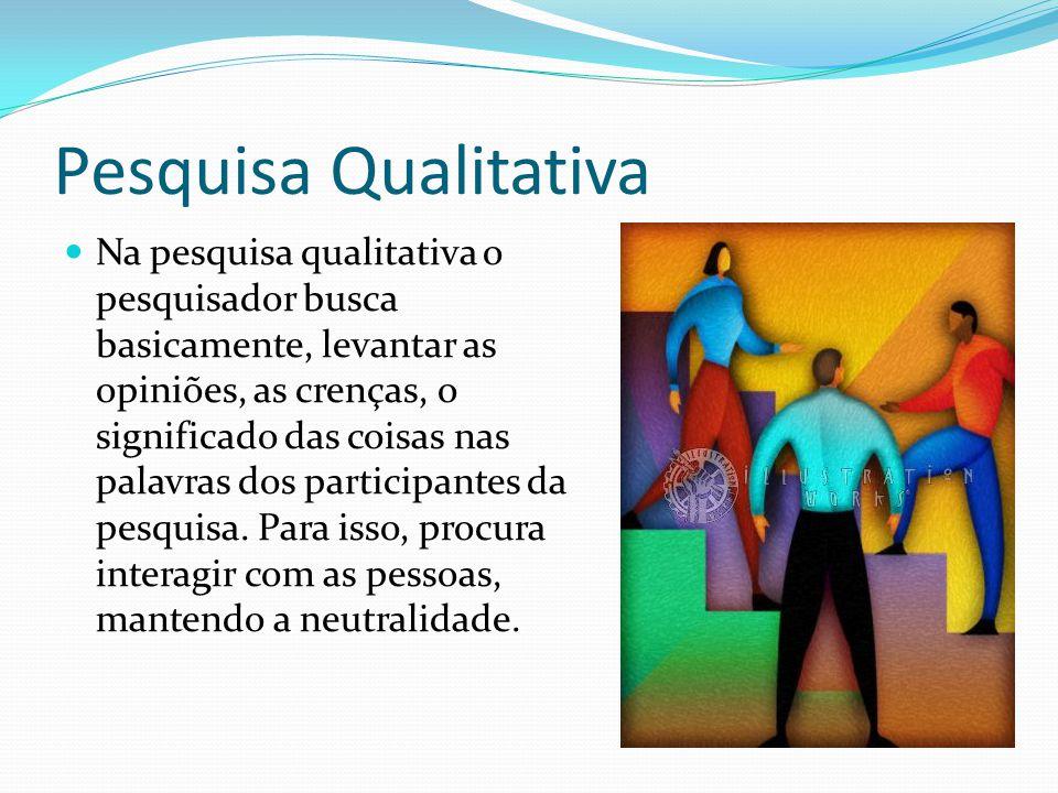 Pesquisa Qualitativa Na pesquisa qualitativa o pesquisador busca basicamente, levantar as opiniões, as crenças, o significado das coisas nas palavras dos participantes da pesquisa.