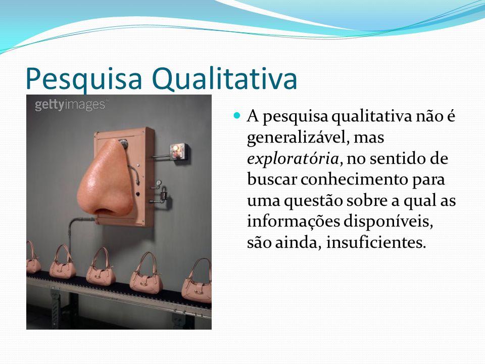 Pesquisa Qualitativa A pesquisa qualitativa não é generalizável, mas exploratória, no sentido de buscar conhecimento para uma questão sobre a qual as