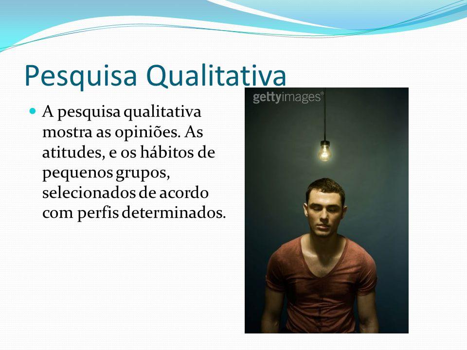 Pesquisa Qualitativa A pesquisa qualitativa mostra as opiniões. As atitudes, e os hábitos de pequenos grupos, selecionados de acordo com perfis determ