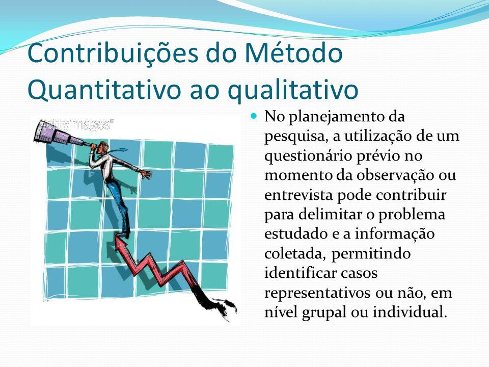Contribuições do Método Quantitativo ao qualitativo No planejamento da pesquisa, a utilização de um questionário prévio no momento da observação ou en