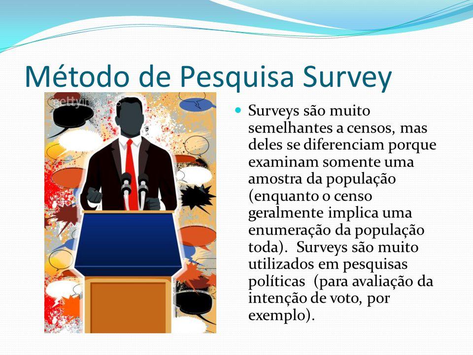 Método de Pesquisa Survey Surveys são muito semelhantes a censos, mas deles se diferenciam porque examinam somente uma amostra da população (enquanto o censo geralmente implica uma enumeração da população toda).
