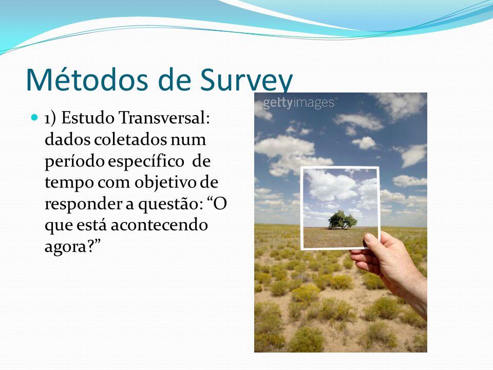 Métodos de Survey 1) Estudo Transversal: dados coletados num período específico de tempo com objetivo de responder a questão: O que está acontecendo agora?