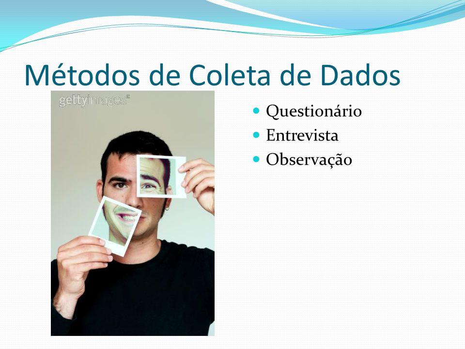 Métodos de Coleta de Dados Questionário Entrevista Observação