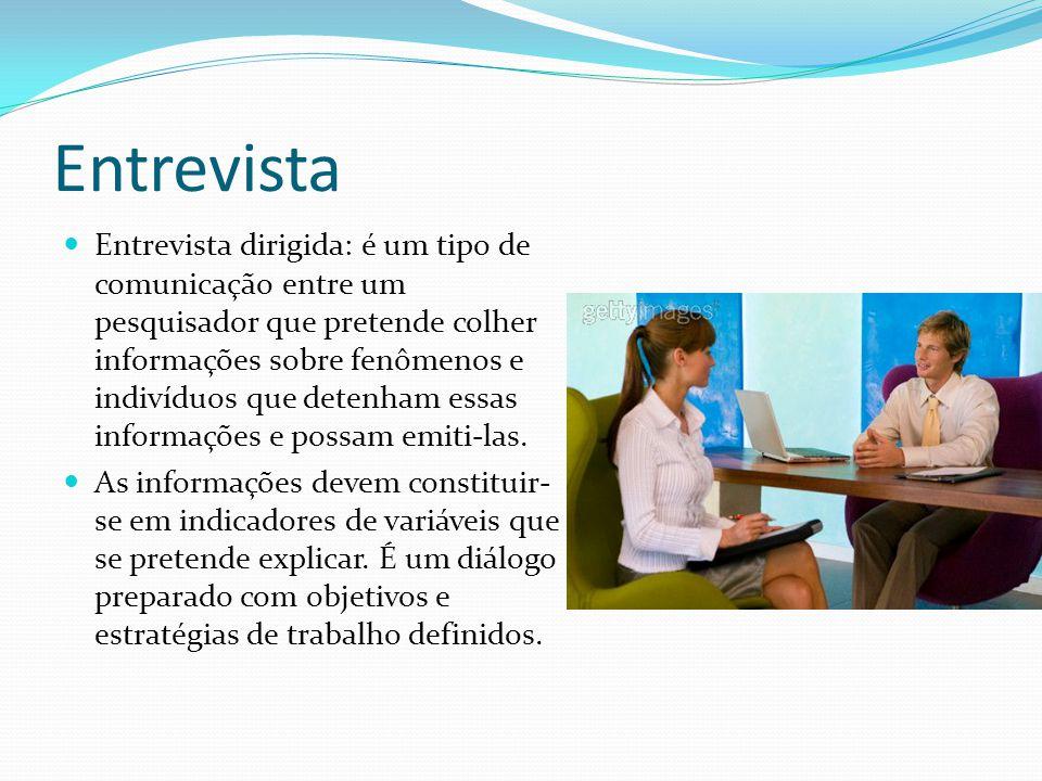 Entrevista Entrevista dirigida: é um tipo de comunicação entre um pesquisador que pretende colher informações sobre fenômenos e indivíduos que detenha