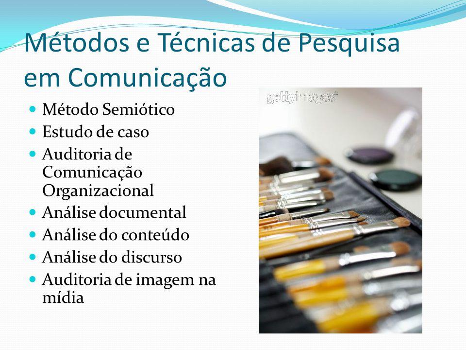 Métodos e Técnicas de Pesquisa em Comunicação Método Semiótico Estudo de caso Auditoria de Comunicação Organizacional Análise documental Análise do conteúdo Análise do discurso Auditoria de imagem na mídia