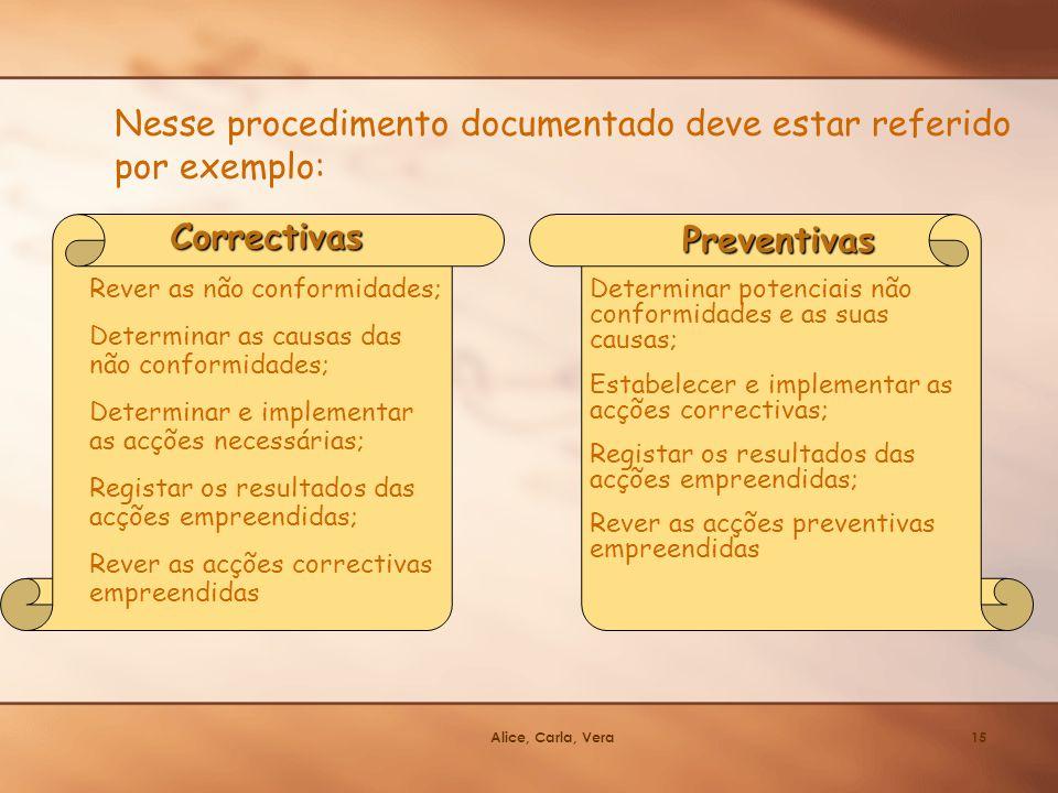 Alice, Carla, Vera15 Correctivas Rever as não conformidades; Determinar as causas das não conformidades; Determinar e implementar as acções necessária