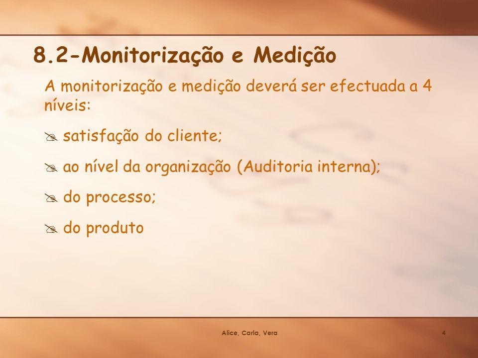 Alice, Carla, Vera4 A monitorização e medição deverá ser efectuada a 4 níveis: satisfação do cliente; ao nível da organização (Auditoria interna); do
