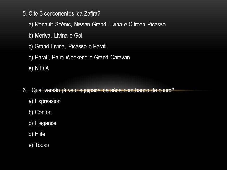 5.Cite 3 concorrentes da Zafira.