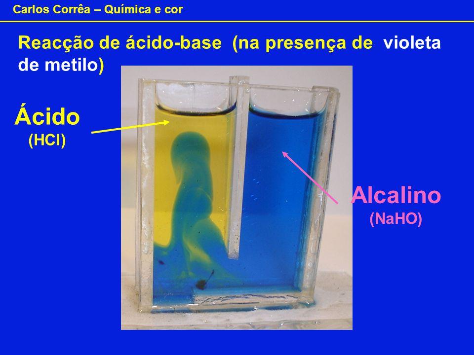 Carlos Corrêa – Química e cor Reacção de ácido-base (na presença de violeta de metilo) Alcalino (NaHO) Ácido (HCl)
