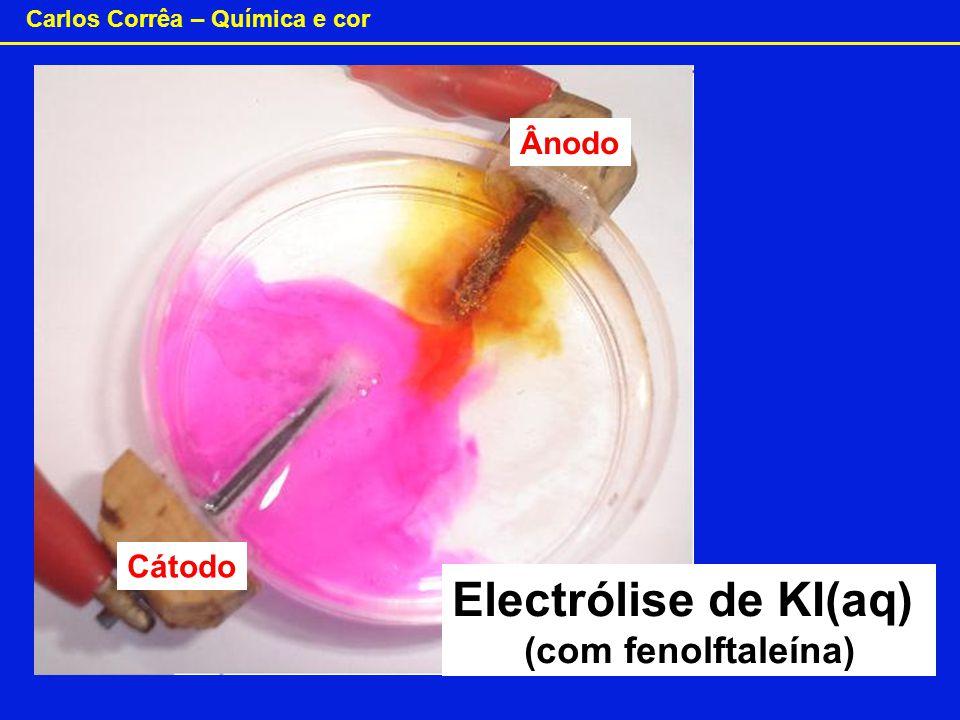Carlos Corrêa – Química e cor Electrólise de KI(aq) (com fenolftaleína) Cátodo Ânodo