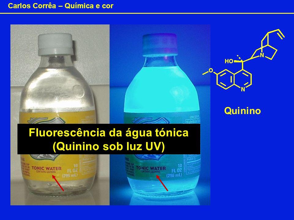 Carlos Corrêa – Química e cor Fluorescência da água tónica (Quinino sob luz UV) Quinino