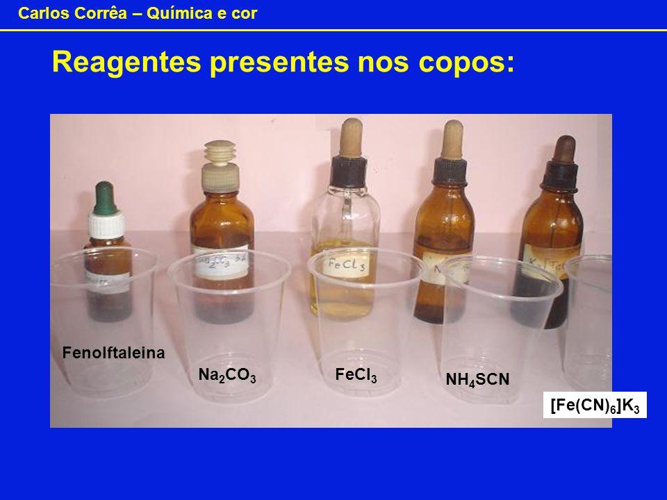 Reagentes presentes nos copos: Fenolftaleina Na 2 CO 3 FeCl 3 NH 4 SCN [Fe(CN) 6 ]K 3