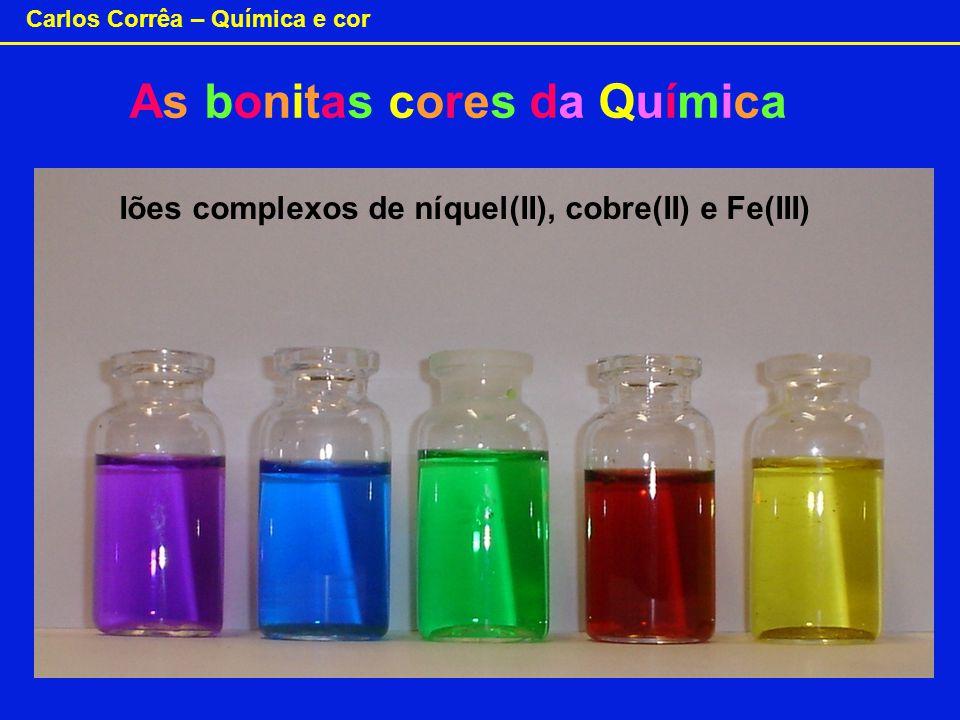 Carlos Corrêa – Química e cor Iões complexos de níquel(II), cobre(II) e Fe(III) As bonitas cores da Química