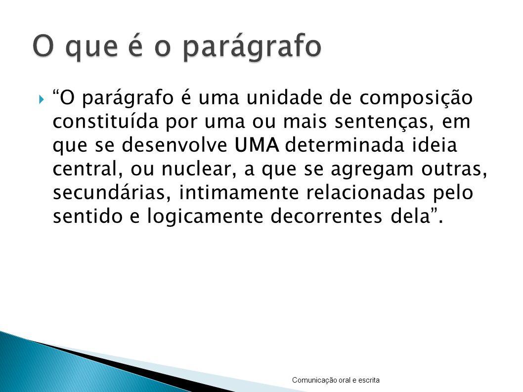O parágrafo é uma unidade de composição constituída por uma ou mais sentenças, em que se desenvolve UMA determinada ideia central, ou nuclear, a que s