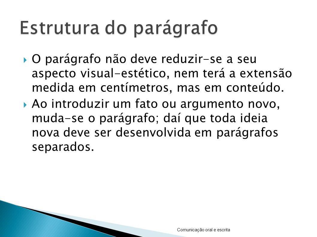 O parágrafo não deve reduzir-se a seu aspecto visual-estético, nem terá a extensão medida em centímetros, mas em conteúdo. Ao introduzir um fato ou ar