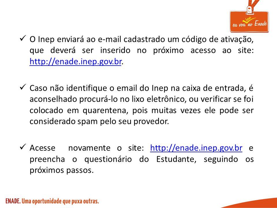 O Inep enviará ao e-mail cadastrado um código de ativação, que deverá ser inserido no próximo acesso ao site: http://enade.inep.gov.br. http://enade.i