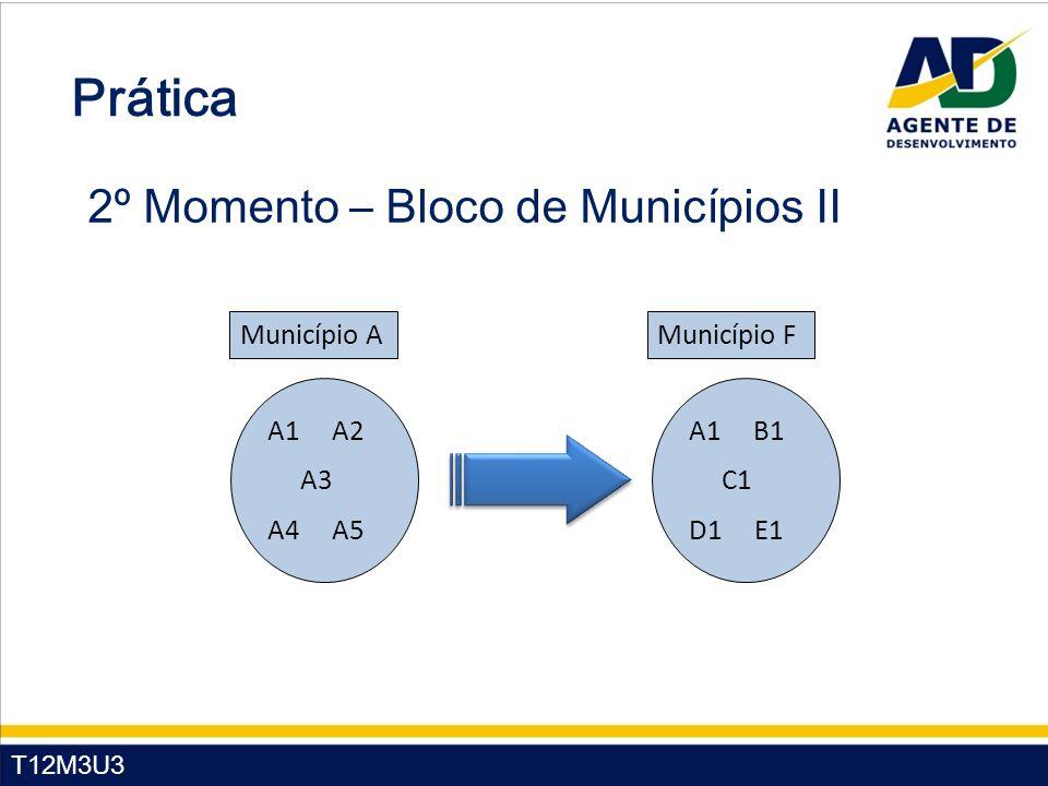 T12M3U3 Prática 2º Momento – Bloco de Municípios II A1 A2 A3 A4 A5 Município A A1 B1 C1 D1 E1 Município F