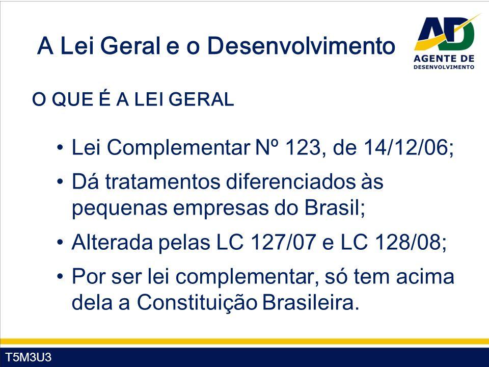 T5M3U3 A Lei Geral e o Desenvolvimento O QUE É A LEI GERAL Lei Complementar Nº 123, de 14/12/06; Dá tratamentos diferenciados às pequenas empresas do Brasil; Alterada pelas LC 127/07 e LC 128/08; Por ser lei complementar, só tem acima dela a Constituição Brasileira.
