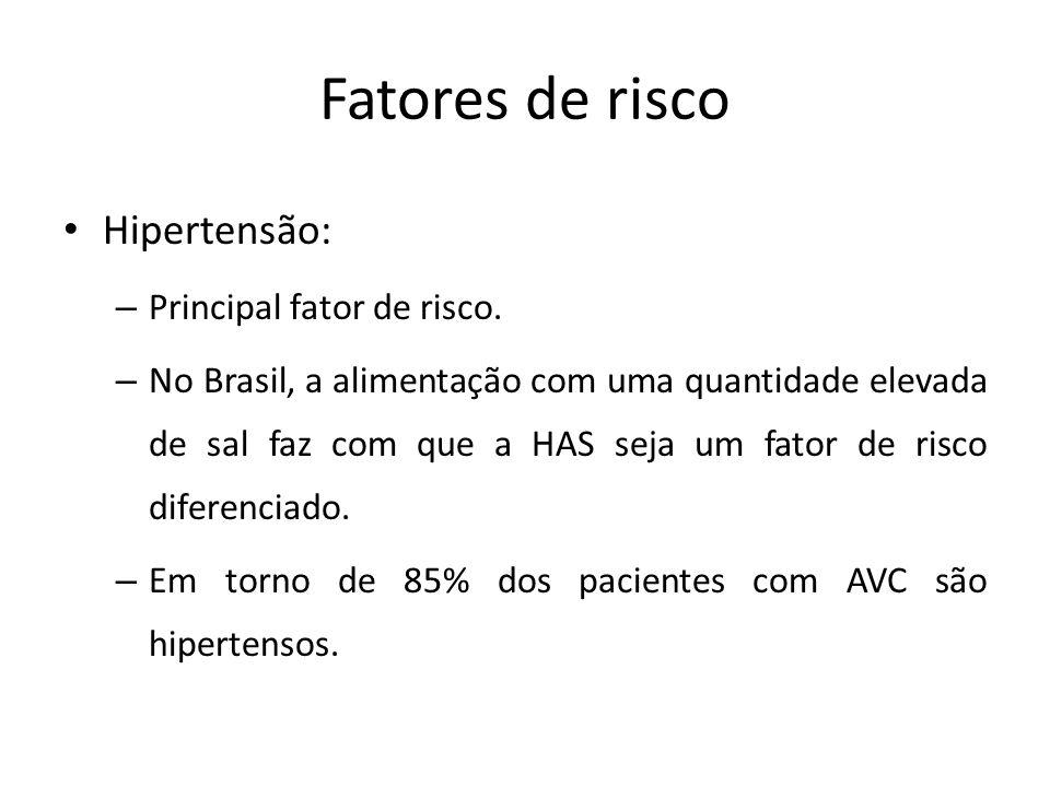 Fatores de risco Hipertensão: – Principal fator de risco. – No Brasil, a alimentação com uma quantidade elevada de sal faz com que a HAS seja um fator