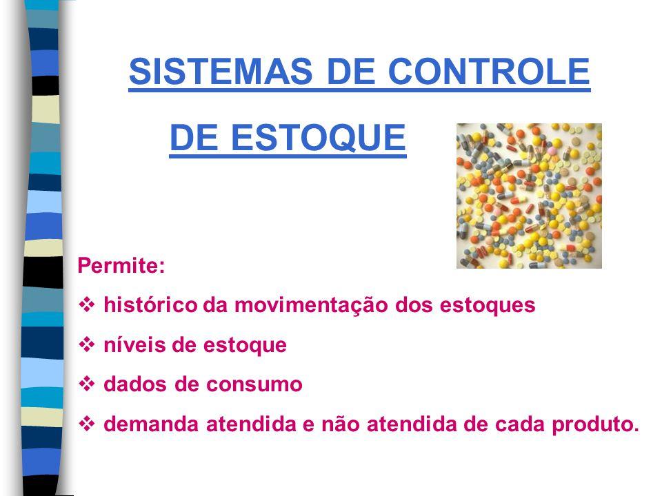 SISTEMAS DE CONTROLE DE ESTOQUE Permite: histórico da movimentação dos estoques níveis de estoque dados de consumo demanda atendida e não atendida de cada produto.