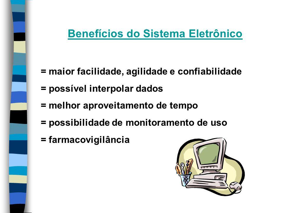 Benefícios do Sistema Eletrônico = maior facilidade, agilidade e confiabilidade = possível interpolar dados = melhor aproveitamento de tempo = possibilidade de monitoramento de uso = farmacovigilância