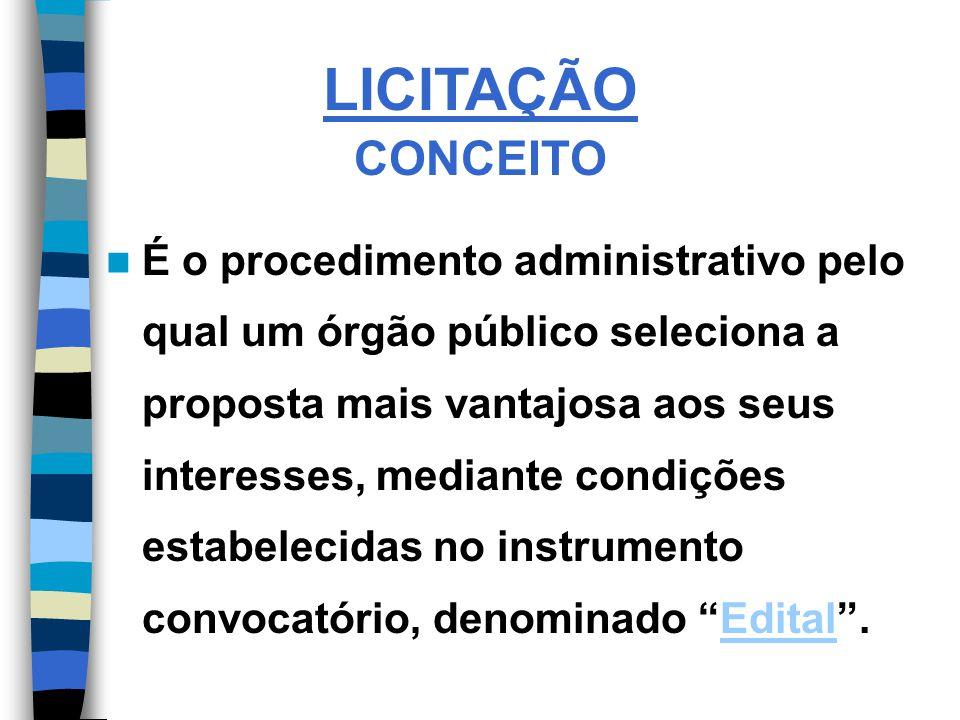 LICITAÇÃO CONCEITO É o procedimento administrativo pelo qual um órgão público seleciona a proposta mais vantajosa aos seus interesses, mediante condições estabelecidas no instrumento convocatório, denominado Edital.Edital