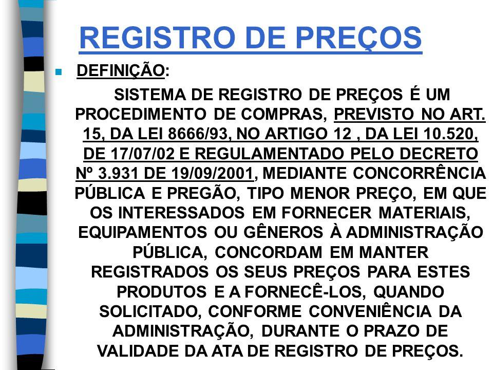 REGISTRO DE PREÇOS DEFINIÇÃO: SISTEMA DE REGISTRO DE PREÇOS É UM PROCEDIMENTO DE COMPRAS, PREVISTO NO ART.