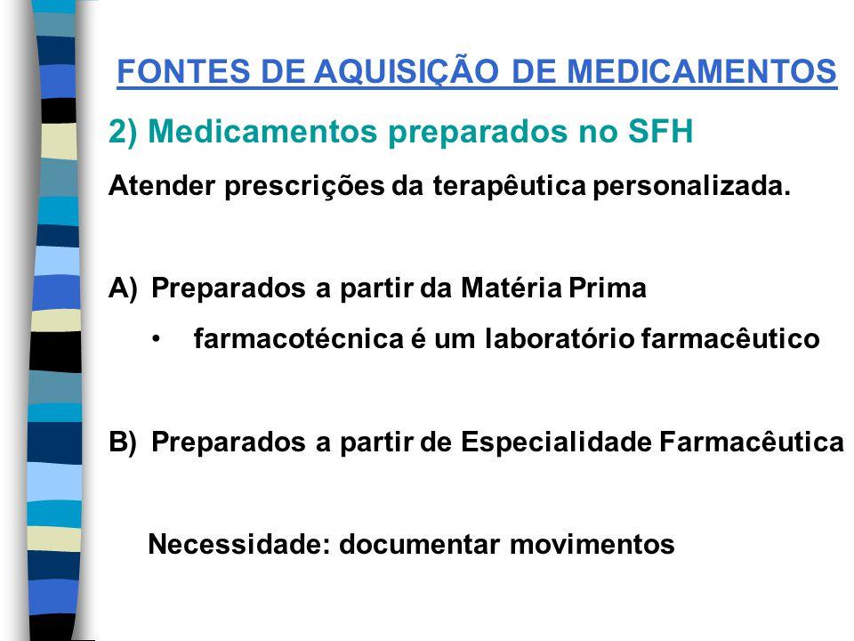 FONTES DE AQUISIÇÃO DE MEDICAMENTOS 2) Medicamentos preparados no SFH Atender prescrições da terapêutica personalizada.