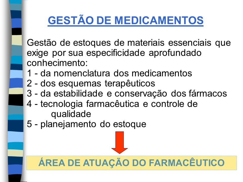 GESTÃO DE MEDICAMENTOS Gestão de estoques de materiais essenciais que exige por sua especificidade aprofundado conhecimento: 1 - da nomenclatura dos medicamentos 2 - dos esquemas terapêuticos 3 - da estabilidade e conservação dos fármacos 4 - tecnologia farmacêutica e controle de qualidade 5 - planejamento do estoque ÁREA DE ATUAÇÃO DO FARMACÊUTICO