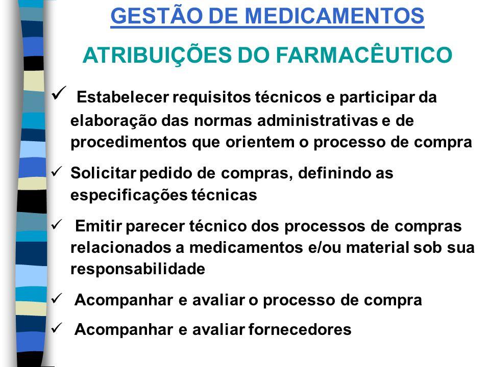 FLUXO DE UM MATERIAL Necessidade Qualidade Características Essencialidade Padronização Sim ou Não Aquisição Armazenamento ControleDistribuição GESTÃO