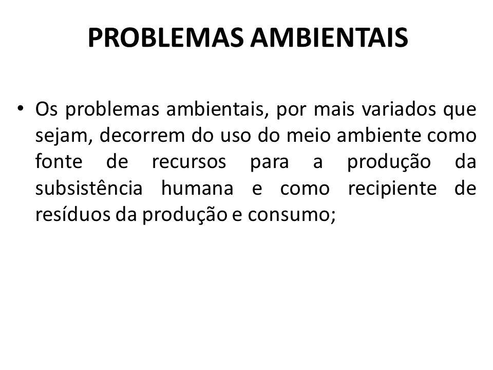 PROBLEMAS AMBIENTAIS Os problemas ambientais, por mais variados que sejam, decorrem do uso do meio ambiente como fonte de recursos para a produção da