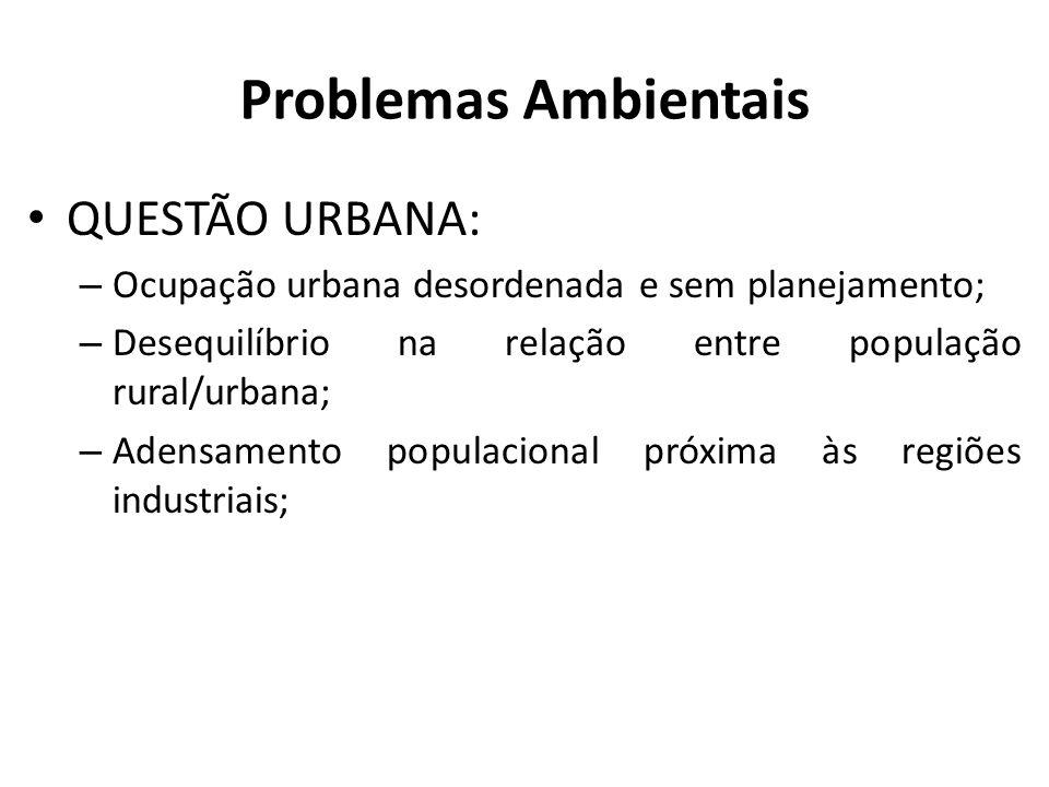 Problemas Ambientais QUESTÃO URBANA: – Ocupação urbana desordenada e sem planejamento; – Desequilíbrio na relação entre população rural/urbana; – Aden
