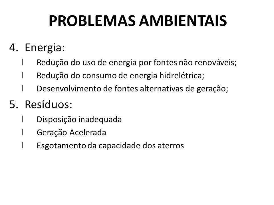 PROBLEMAS AMBIENTAIS 4.Energia: lRedução do uso de energia por fontes não renováveis; lRedução do consumo de energia hidrelétrica; lDesenvolvimento de