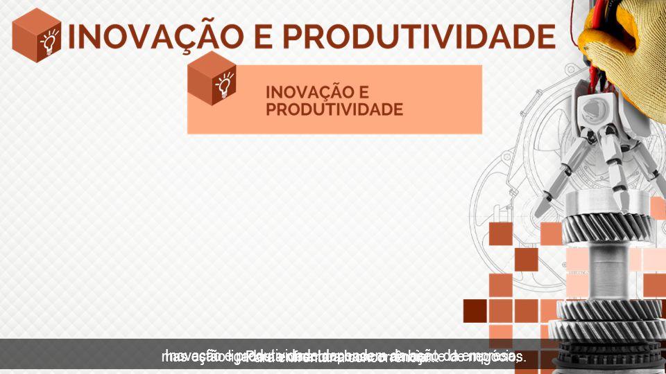 Inovação e produtividade dependem da ação da empresa, mas estão ligados a uma boa base e ambiente de negócios. Para enfrentar a concorrência...