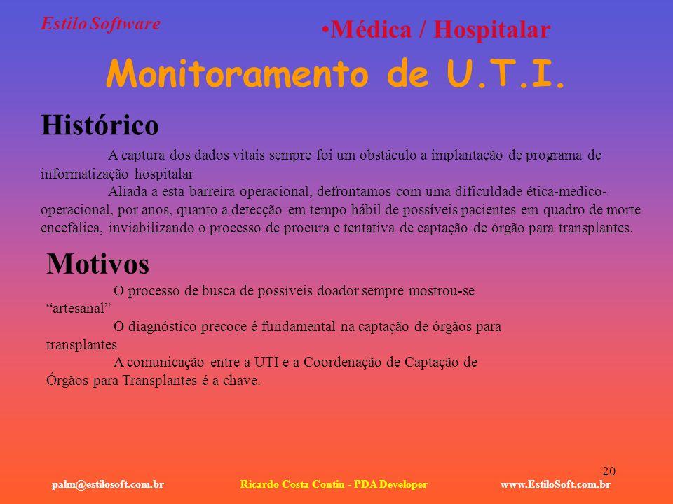20 Estilo Software www.EstiloSoft.com.brRicardo Costa Contin - PDA Developerpalm@estilosoft.com.br Médica / Hospitalar Monitoramento de U.T.I. Históri